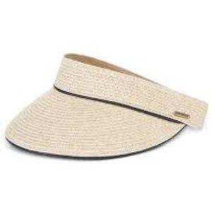 Nine West Packable UPF 50+ Visor Straw Sun Hat